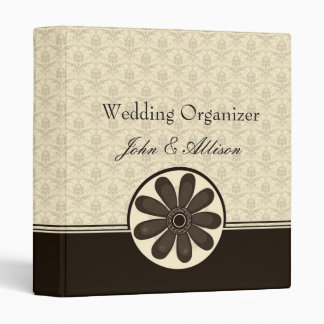 Elegant Mocha Damask Wedding Organizer Binder