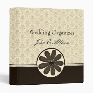 Elegant Mocha Damask Wedding Organizer Binder