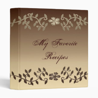 Elegant Mocha Leaves Recipe Book 3 Ring Binder