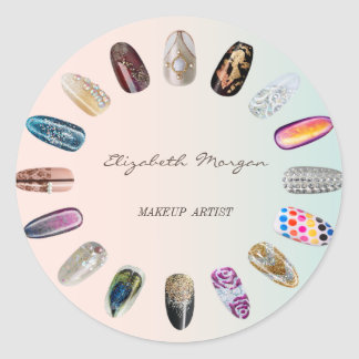 Elegant Moder Girly, Colorful, Nailed Nails Classic Round Sticker