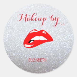 Elegant Moder Girly,Glittery,Red Lips Classic Round Sticker