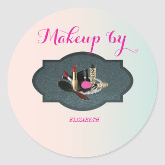 Elegant Moder Girly,Makeup artist Classic Round Sticker