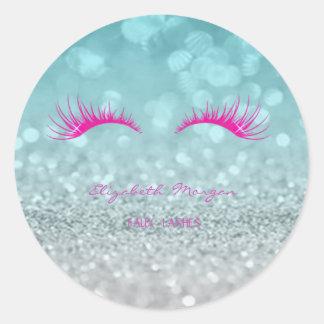 Elegant Moder Glittery Bokeh,Faux Lashes Classic Round Sticker