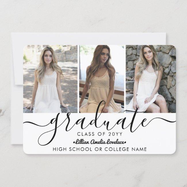 Elegant Modern 4 Photo Collage Script Graduation Announcement