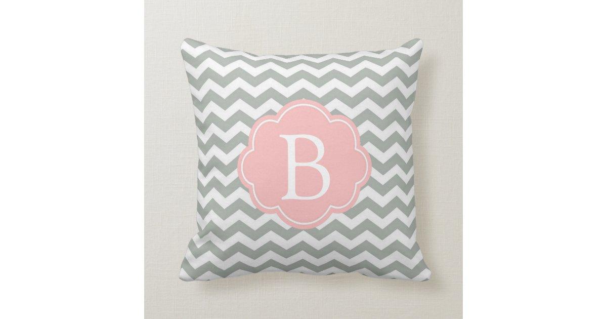 Modern Initial Pillow : Elegant, modern and classic grey chevron monogram throw pillow Zazzle