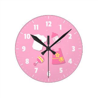 Elegant Modern Baby Girl Nursery Room Decorations Round Wall Clock