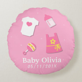 Elegant Modern Baby Girl Nursery Room Decorations Round Pillow
