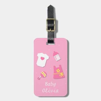 Elegant Modern Baby Girl Pink Luggage Tag