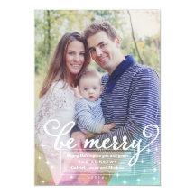 Elegant Modern Be Merry Christmas Photo Card Invitations