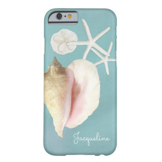 Elegant Modern Beach Conch Shell Starfish Art Barely There iPhone 6 Case