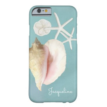 Beach Themed Elegant Modern Beach Conch Shell Starfish Art Barely There iPhone 6 Case