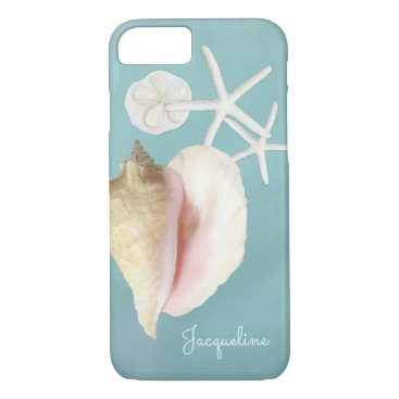 Beach Themed Elegant Modern Beach Conch Shell Starfish Art iPhone 8/7 Case