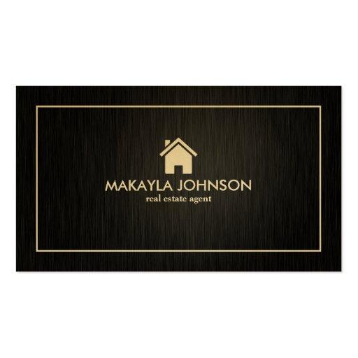 Elegant modern black and gold real estate business card for Modern real estate business cards
