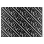 Elegant modern black and gray swirl pattern cutting board