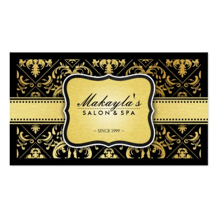 Elegant Modern Black and Metallic Gold Damask Business Card Template