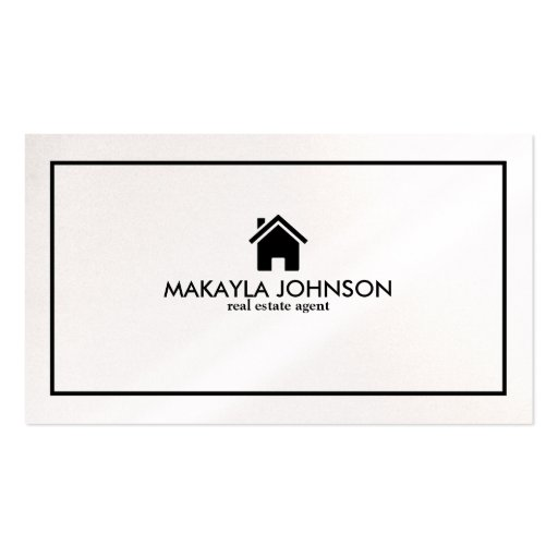 Elegant & Modern Black and Pearl Real Estate Agent Business Card Templates