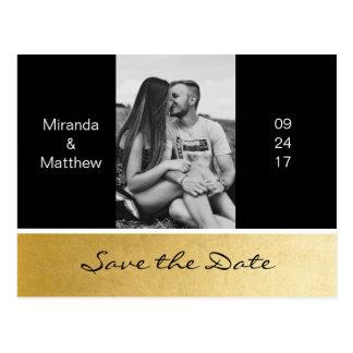 Elegant Modern Black Gold Wedding Save The Date Postcard