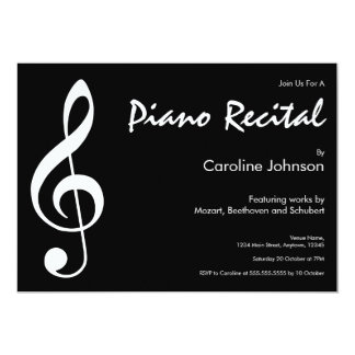 Elegant Modern Black Music Piano Concert Recital Card