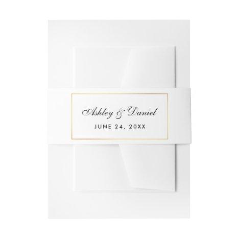 Elegant Modern Black White Gold Wedding Invitation Belly Band