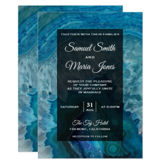 Elegant Modern Blue Agate Wedding Invitation