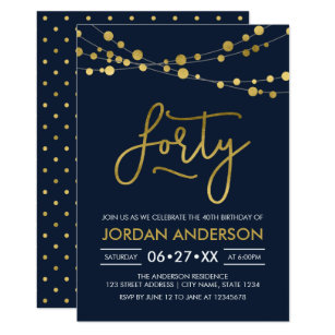 Elegant Modern Blue Faux Gold Lights 40th Birthday Invitation