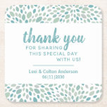 """Elegant Modern Blue Green Pattern Wedding  Square Paper Coaster<br><div class=""""desc"""">Say thank you to your wedding guests with this custom functional and fun coaster. Elegant and pretty blue and green abstract leaf shape pattern that almost looks as if it's a stone path. Personalize with the names of the newlyweds and the date.</div>"""
