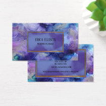 Elegant Modern Blue Purple Watercolor Wedding Business Card