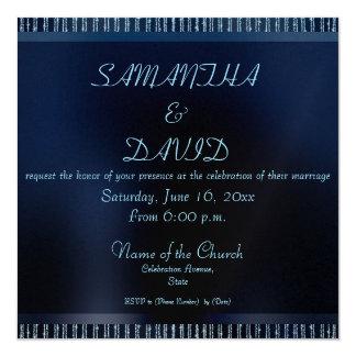 "Elegant Modern Blue Sparkling Wedding invitations 5.25"" Square Invitation Card"