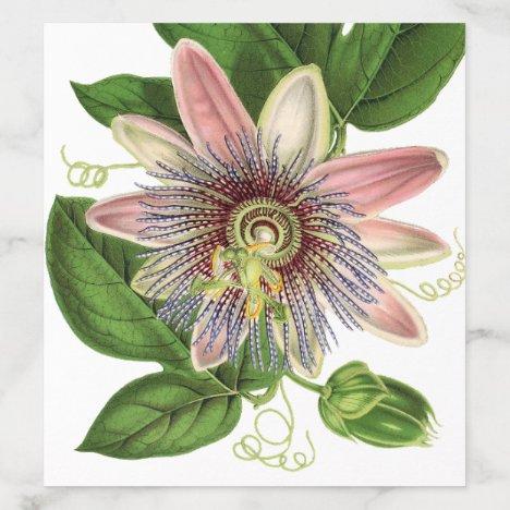 Elegant Modern Botanical Passion Flower Wedding Envelope Liner