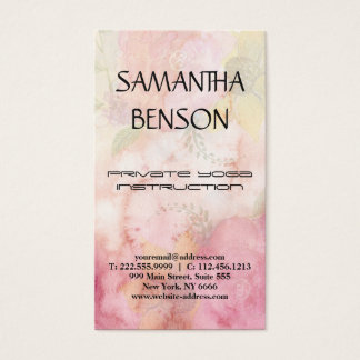 Elegant modern bright watercolor yoga business card