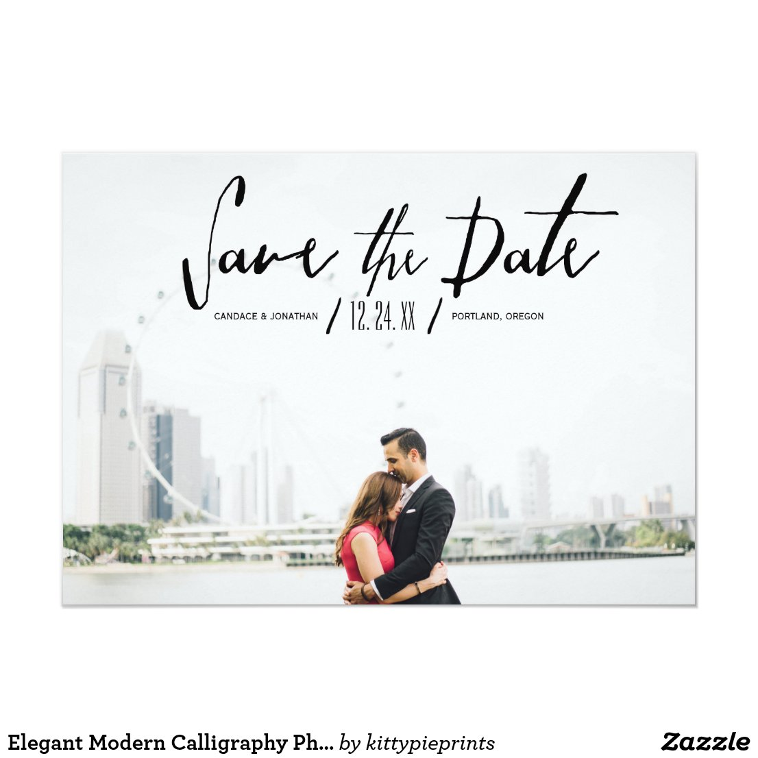 Elegant Modern Calligraphy Photo Save the Date