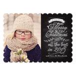 Elegant Modern Chalkboard Christmas Photo Card Invitations