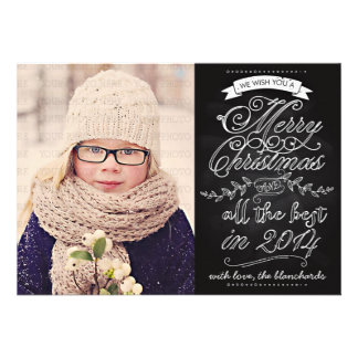 Elegant Modern Chalkboard Christmas Photo Card