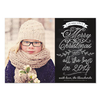 Elegant Modern Chalkboard Christmas Photo Card Announcements