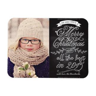 Elegant Modern Chalkboard Christmas Photo Vinyl Magnet