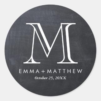 Elegant Modern Chalkboard Monogram Favor Label Classic Round Sticker