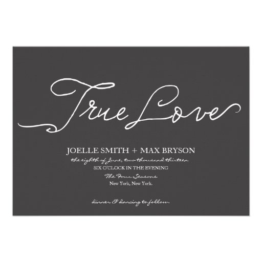 Elegant Modern Charcoal Wedding Invitation 5 X 7 Invitation Card