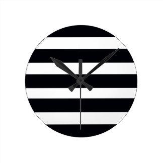 Elegant Modern Chic BLACK & WHITE STRIPES Round Clock