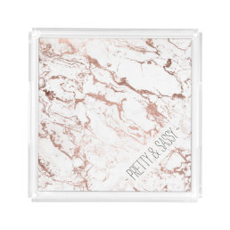Elegant modern chic faux rose gold white marble acrylic tray