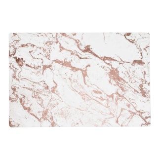 Elegant modern chic faux rose gold white marble placemat