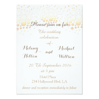 Elegant modern chic gold/bronze confetti wedding card