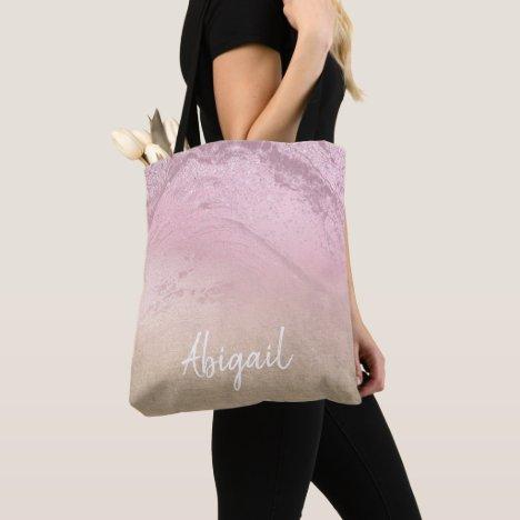 Elegant modern chic ombre rose gold glitter marble tote bag
