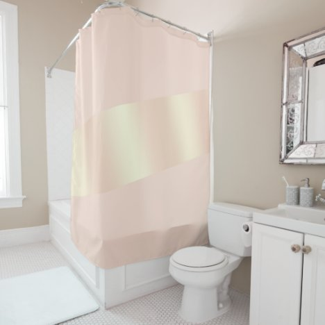 Elegant modern chick blush pink rose gold striped shower curtain