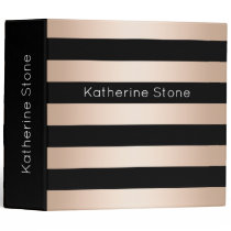 Elegant modern chick rose gold black striped 3 ring binder