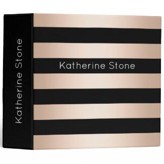 Elegant modern chick rose gold black striped 3 ring binder