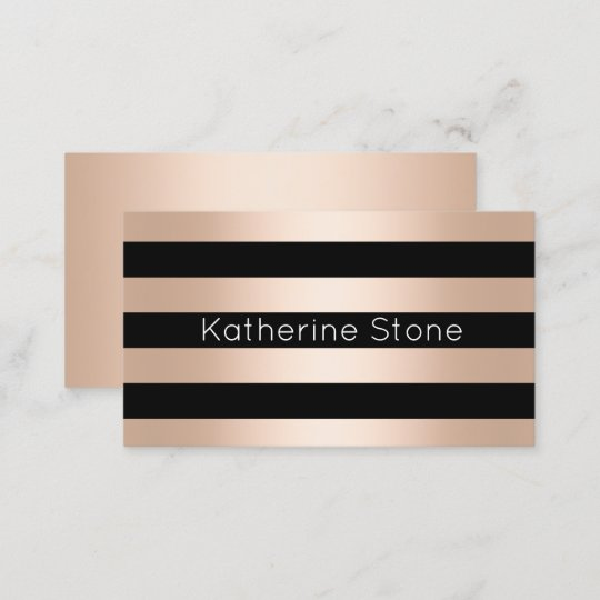 elegant modern chick rose gold black striped business card zazzle com
