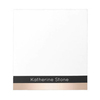 Elegant modern chick rose gold black striped notepad