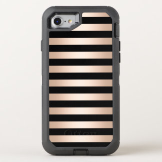 Elegant modern chick rose gold black striped OtterBox defender iPhone 8/7 case