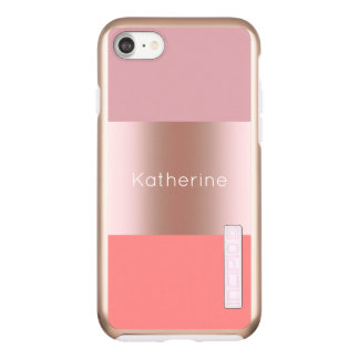 Elegant modern chick rose gold pink coral striped incipio DualPro shine iPhone 7 case