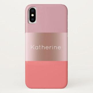 Elegant modern chick rose gold pink coral striped iPhone x case